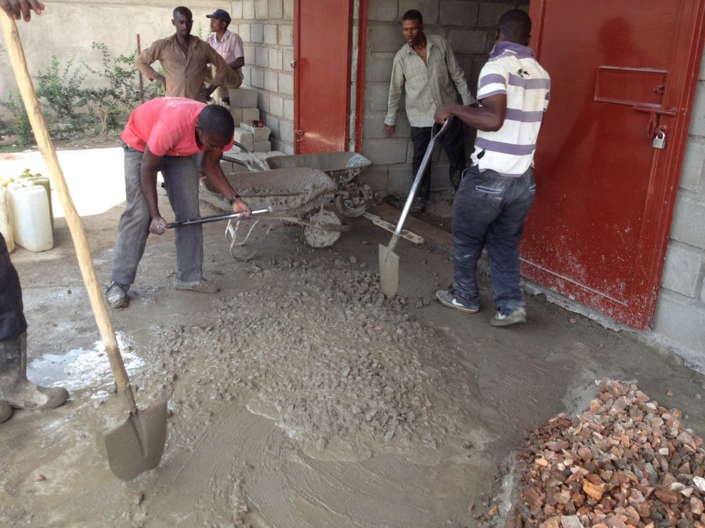 Mixing cement for the floor